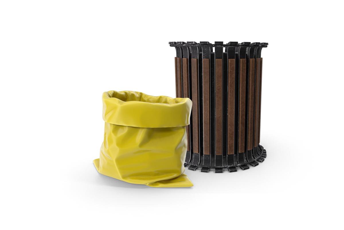 biohazard bag next to a garbage bin